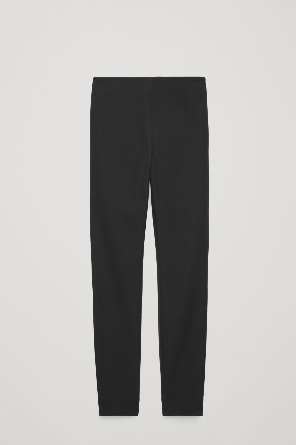 Front image of Cos slim cotton twill trousers in black
