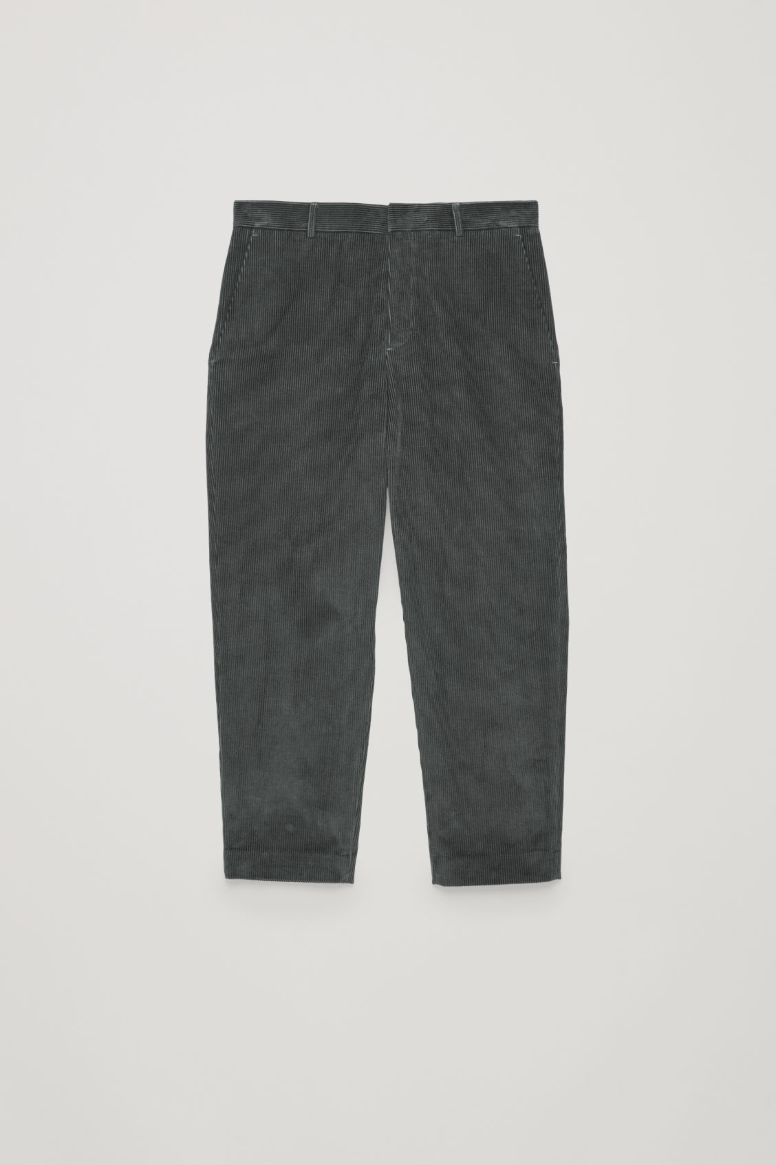 Front image of Cos tapered corduroy trousers in grey