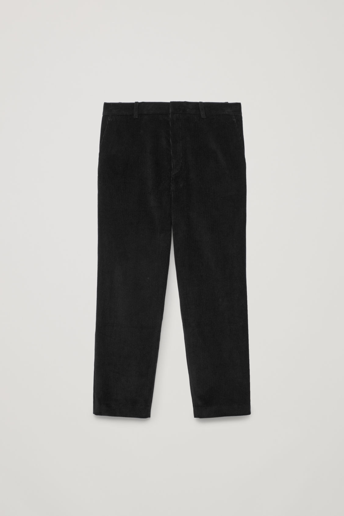 Front image of Cos tapered corduroy trousers in black
