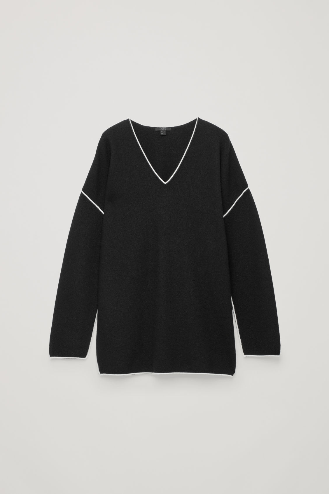 Front image of Cos merino jumper with contrast edge in black