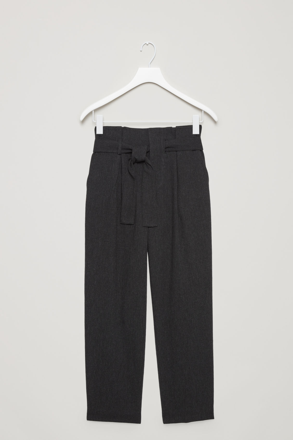 Front image of Cos belted wool trousers  in grey