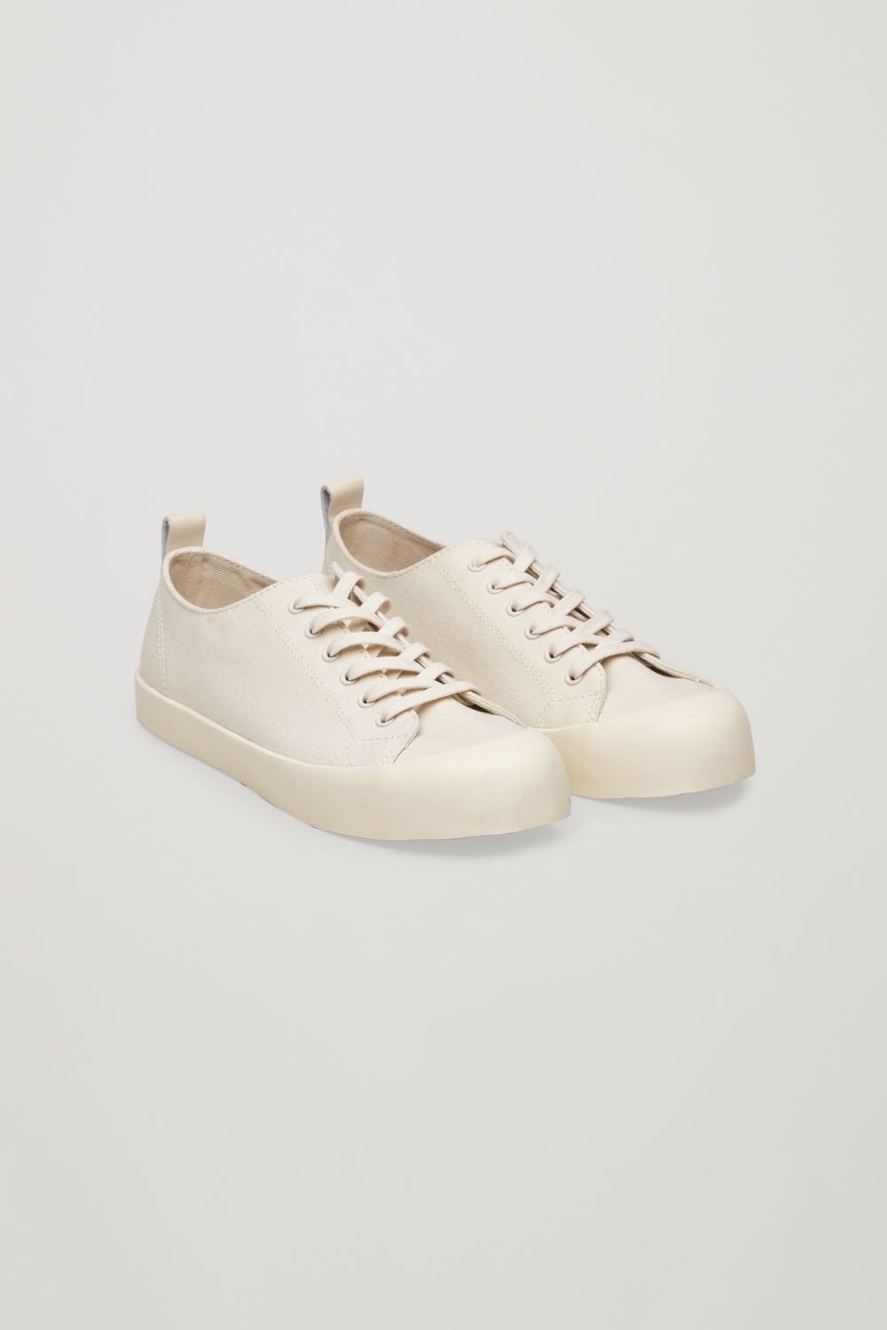 Front image of Cos lace-up canvas sneakers  in beige