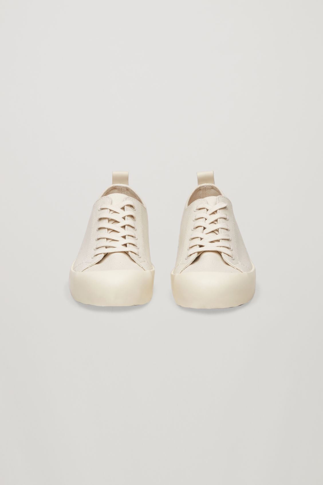 Side image of Cos lace-up canvas sneakers  in beige