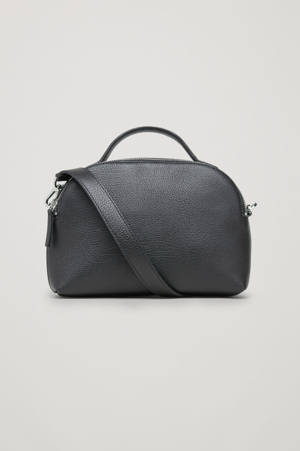 DOUBLE-ZIP LEATHER SHOULDER BAG