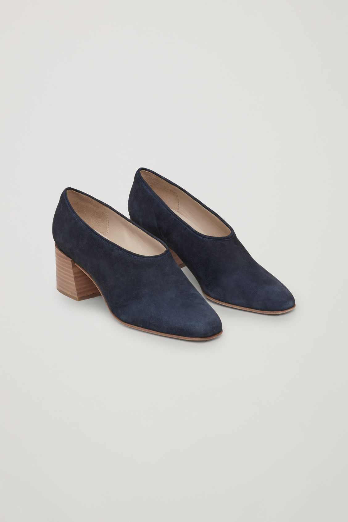 Front image of Cos suede heels in blue