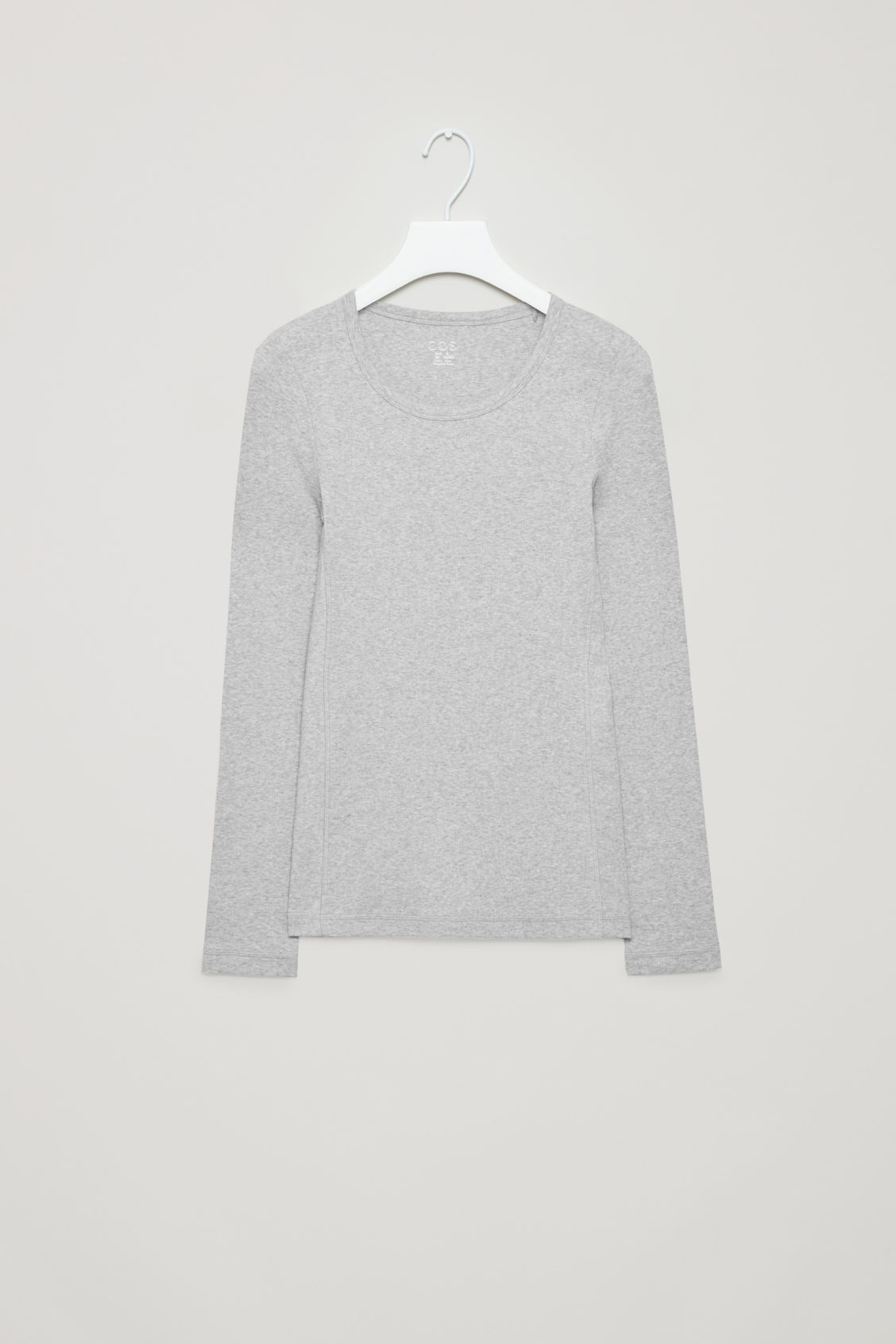 Front image of Cos ribbed long-sleeve top  in grey