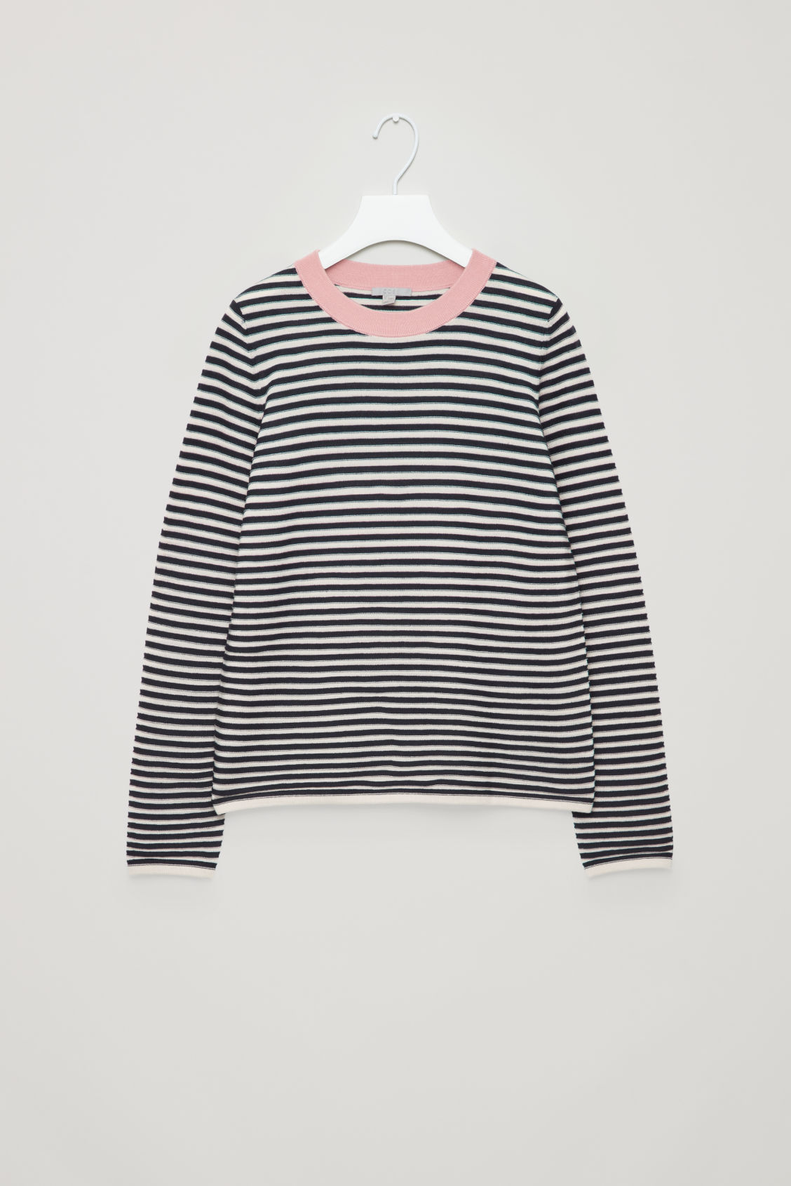 Front image of Cos striped fine-knit top in blue