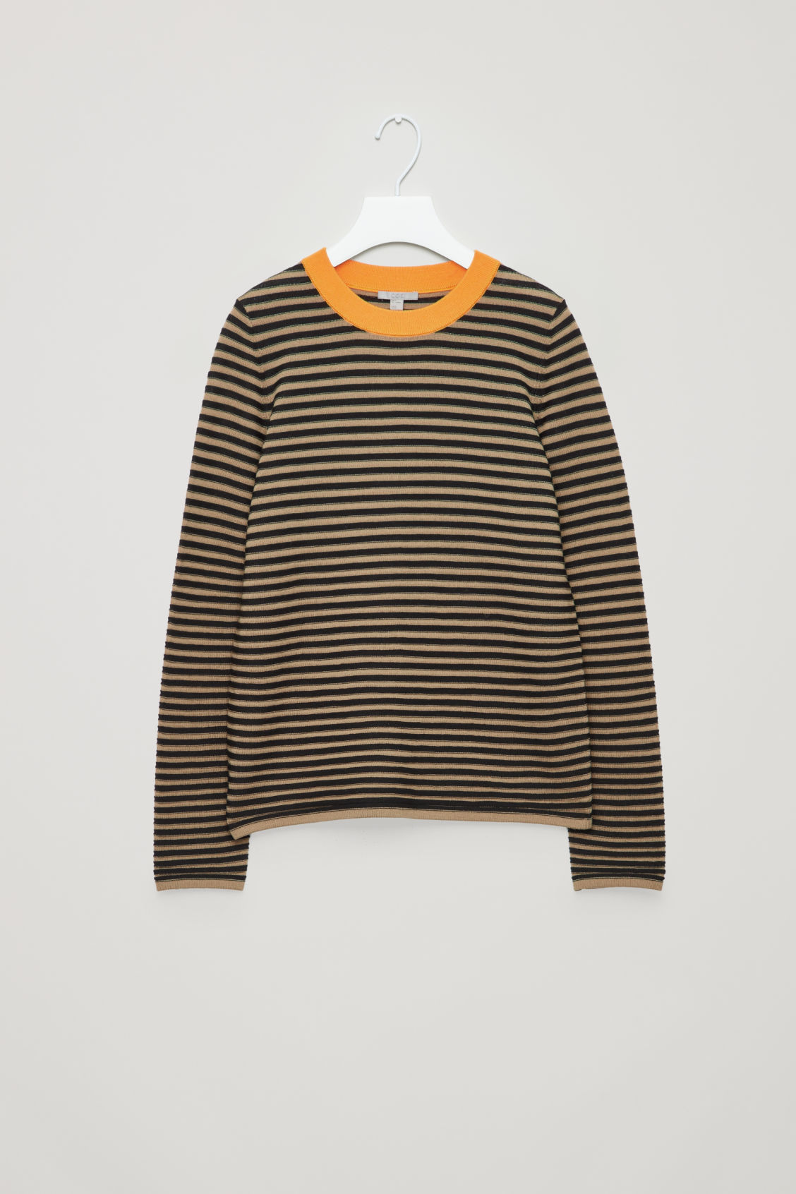 Front image of Cos striped fine-knit top in brown