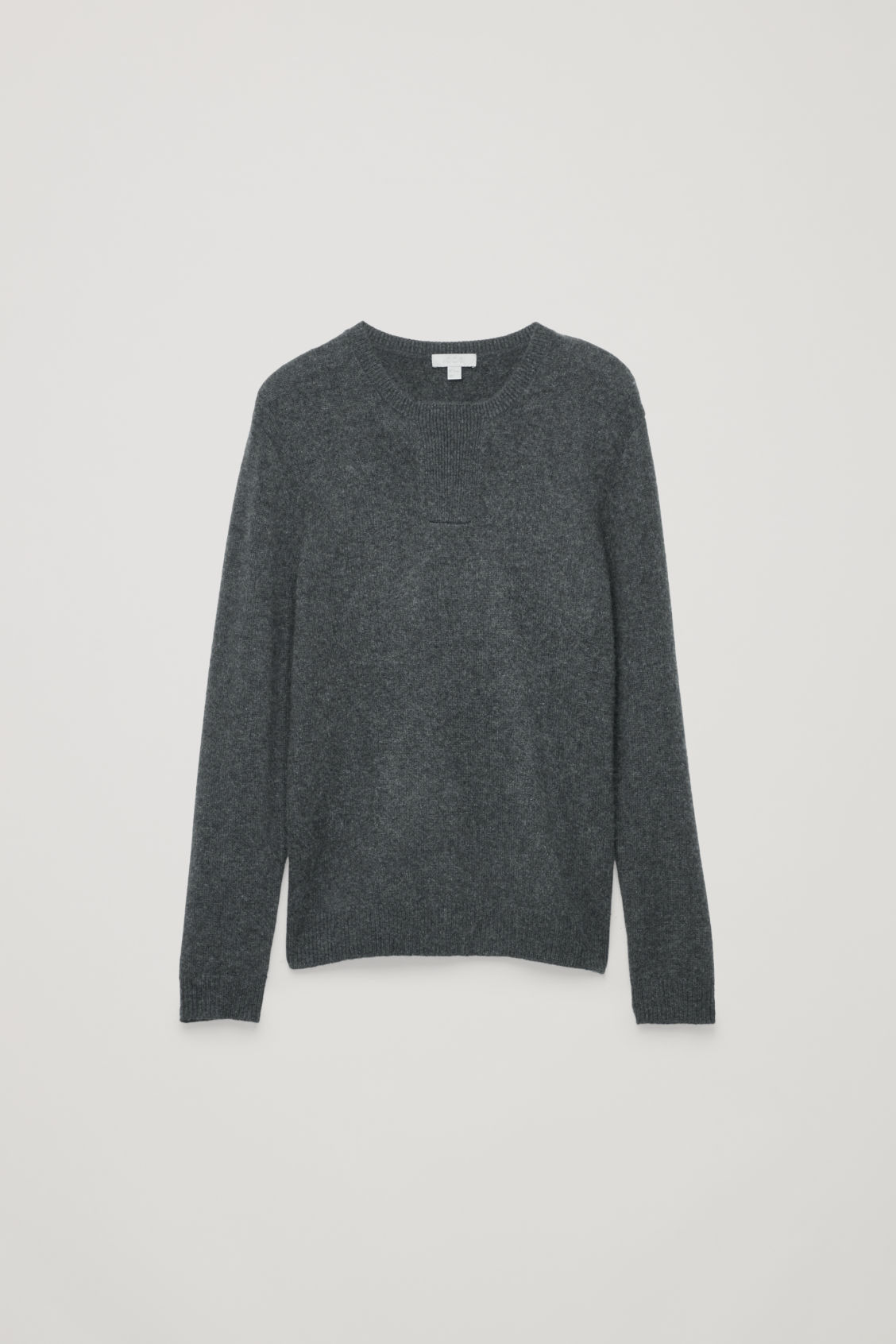 Front image of Cos cashmere jumper with rectangle stitches in grey