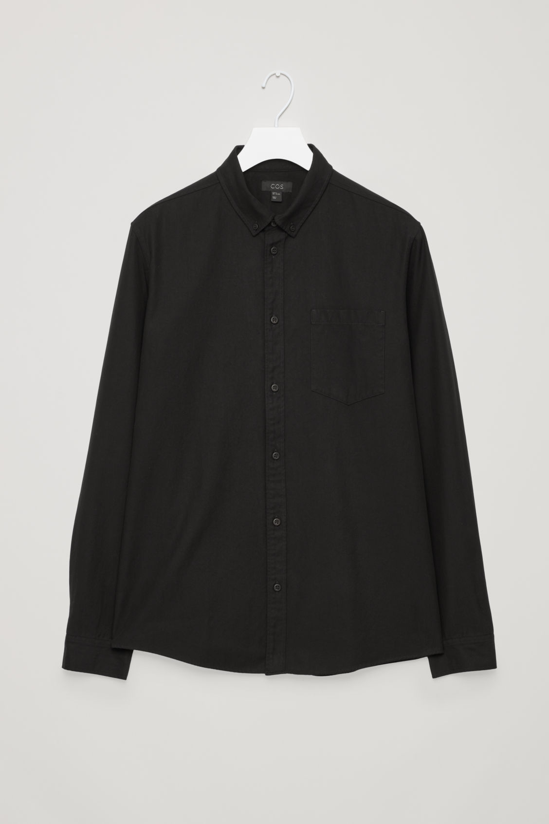 Front image of Cos cotton button-down shirt  in black