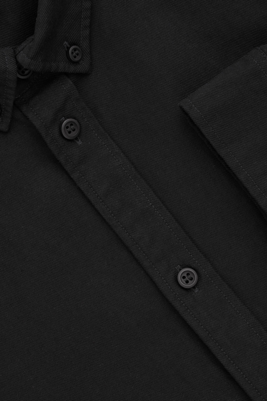 Side image of Cos cotton button-down shirt  in black