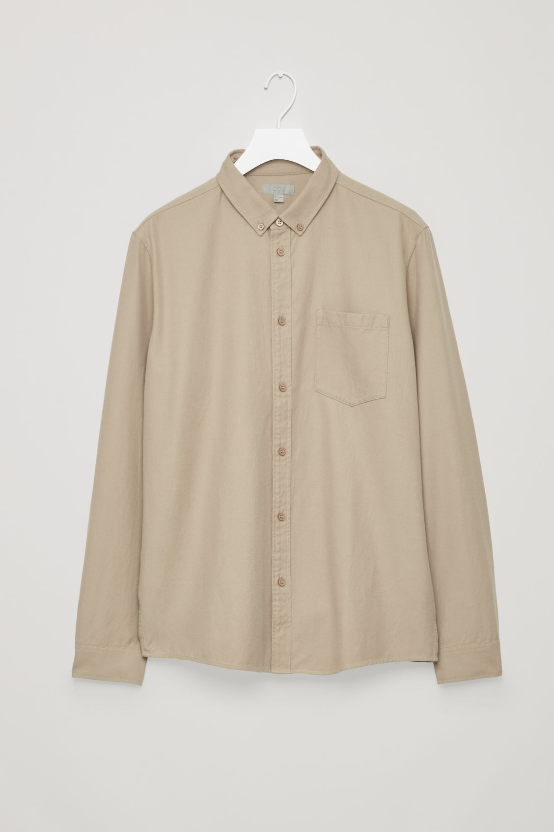 Front image of Cos cotton button-down shirt  in beige