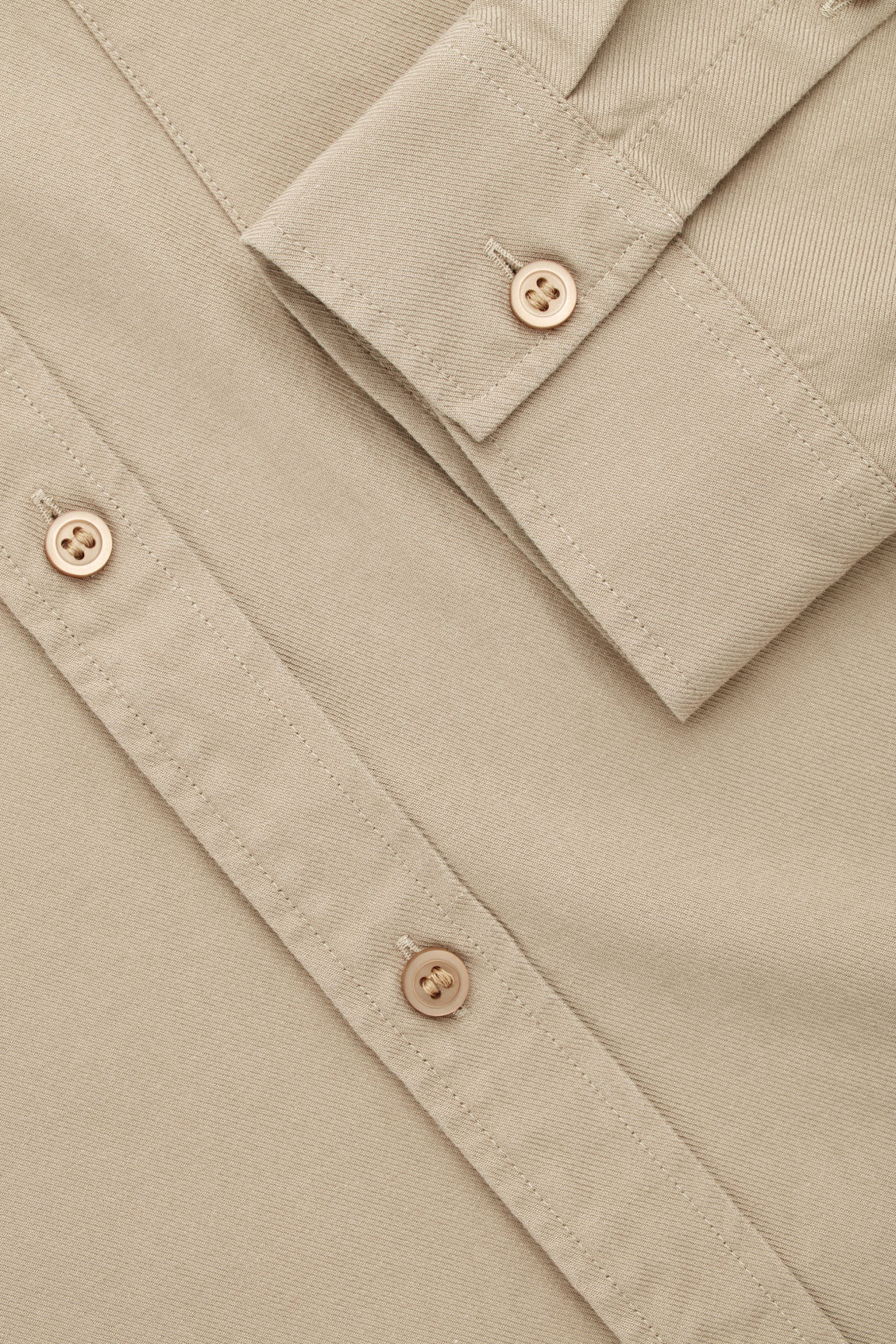 Side image of Cos cotton button-down shirt  in beige