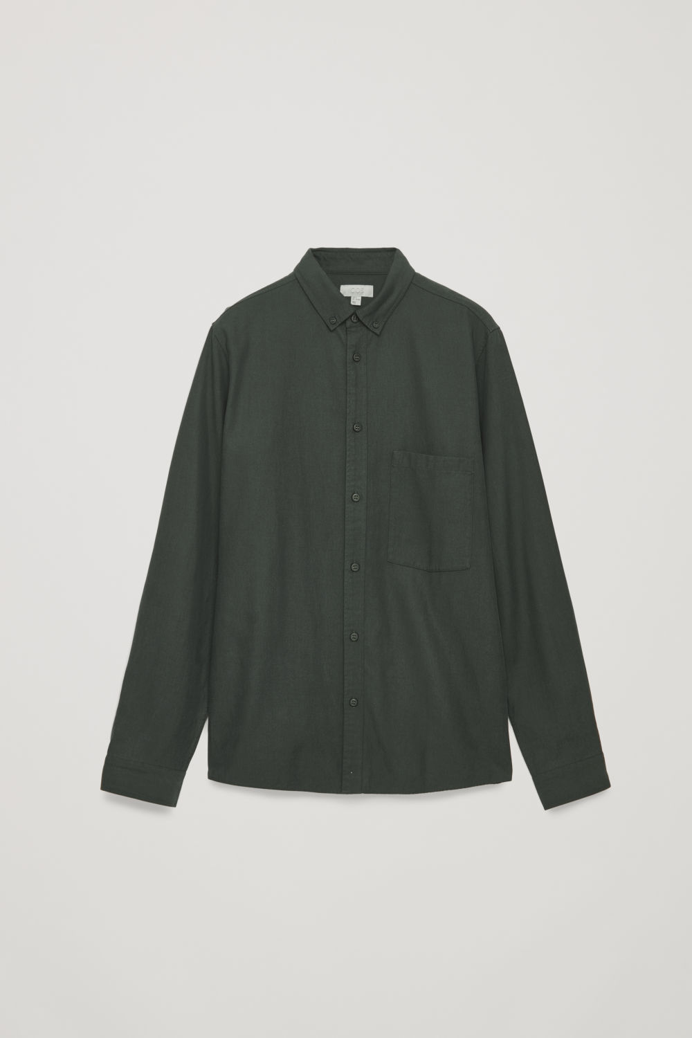 Front image of Cos cotton button-down shirt  in green