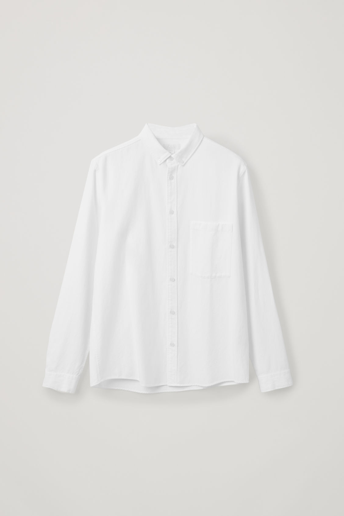 Front image of Cos cotton button-down shirt  in white