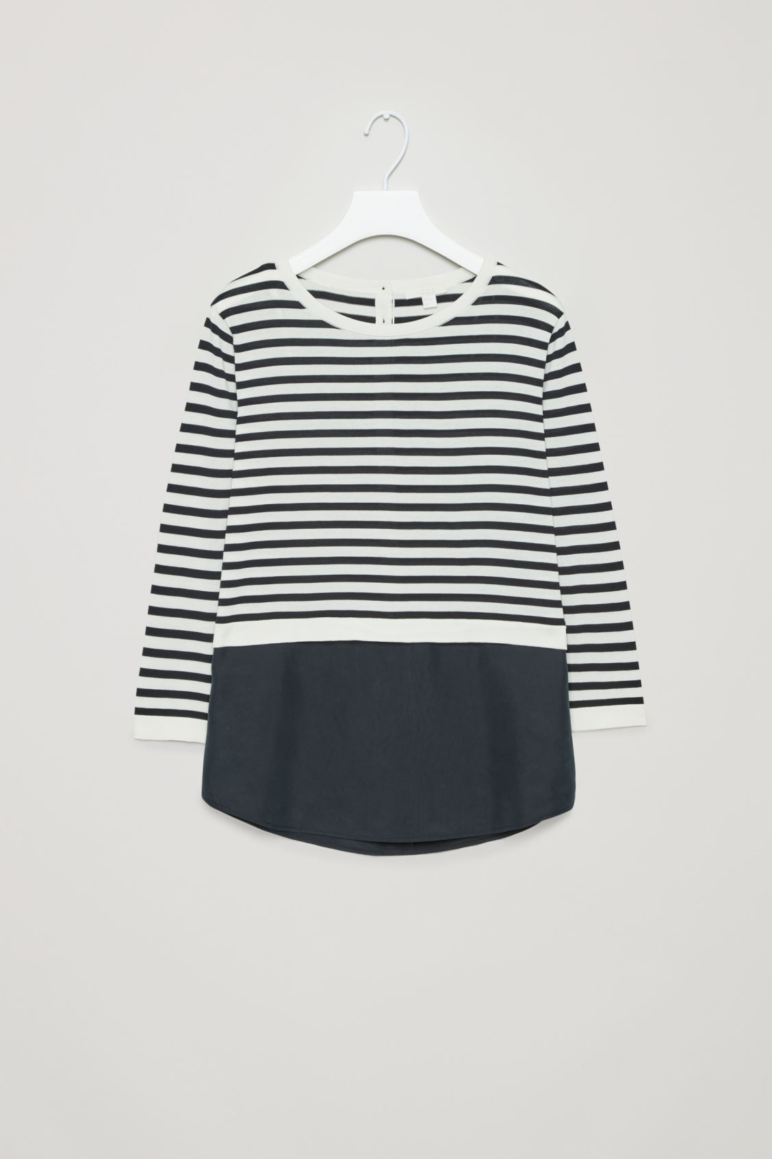 Front image of Cos silk-panelled knit top in blue