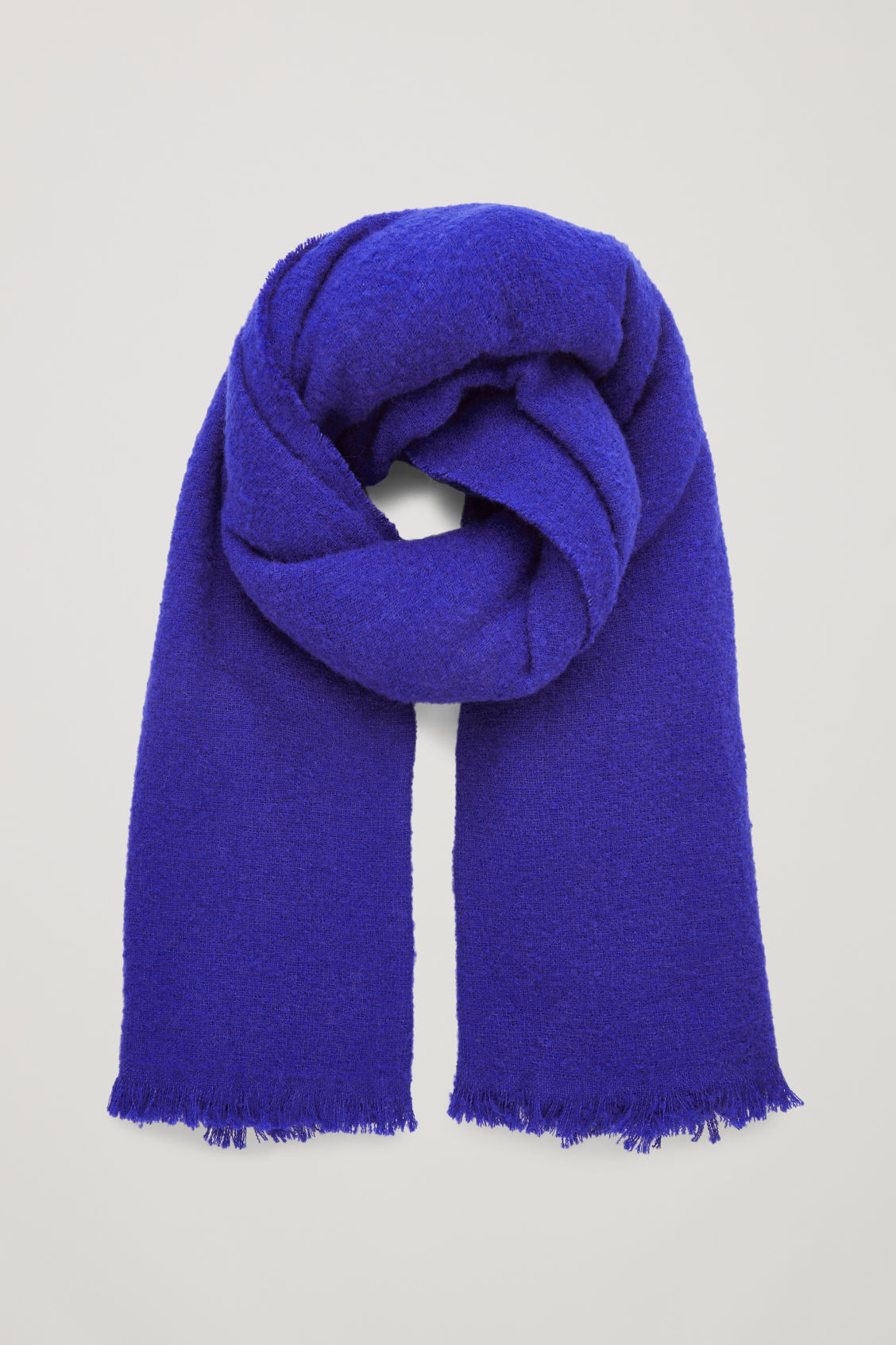 Front image of Cos wool blanket scarf  in blue