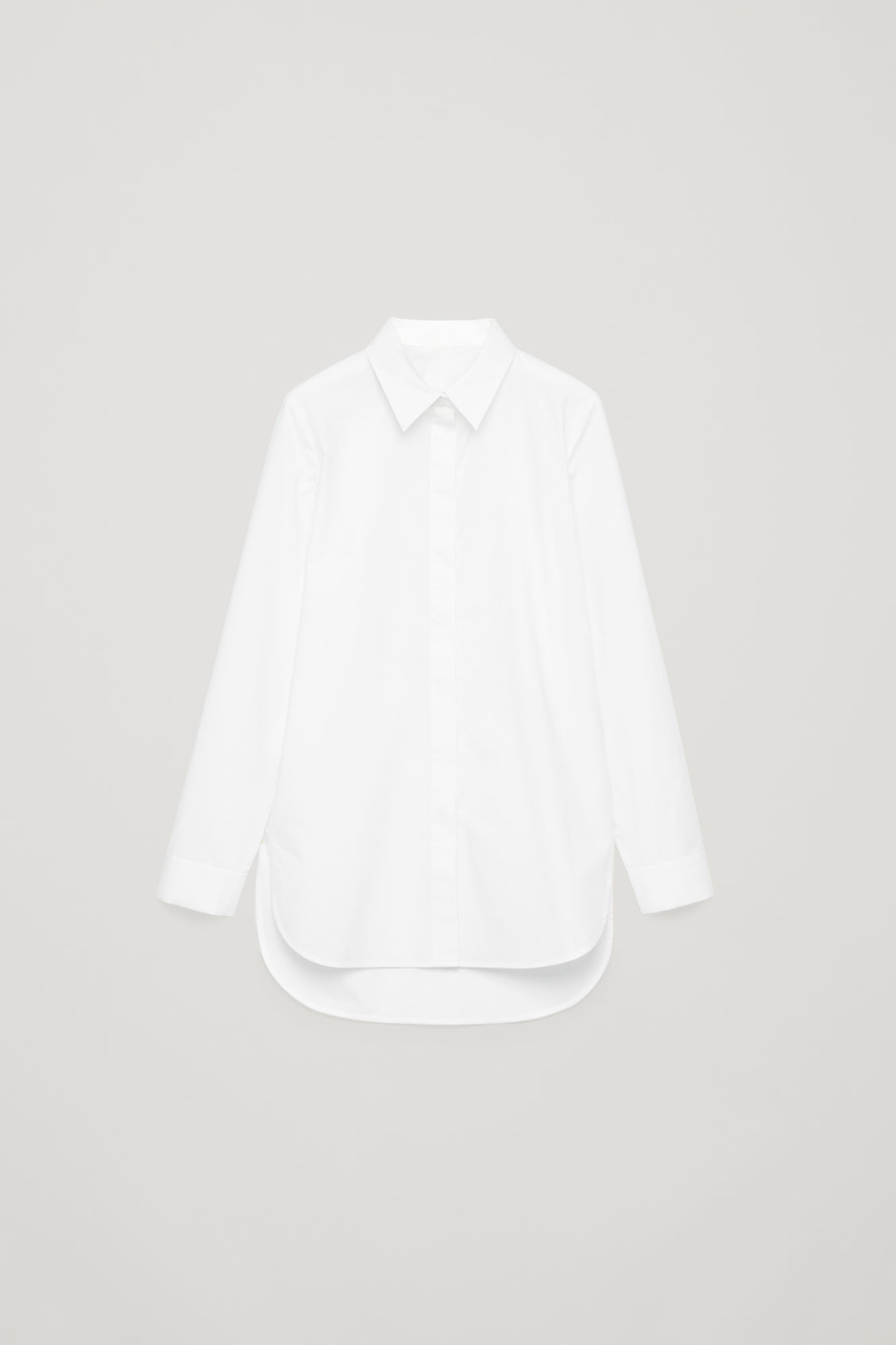 Front image of Cos cocoon cotton-poplin shirt  in white