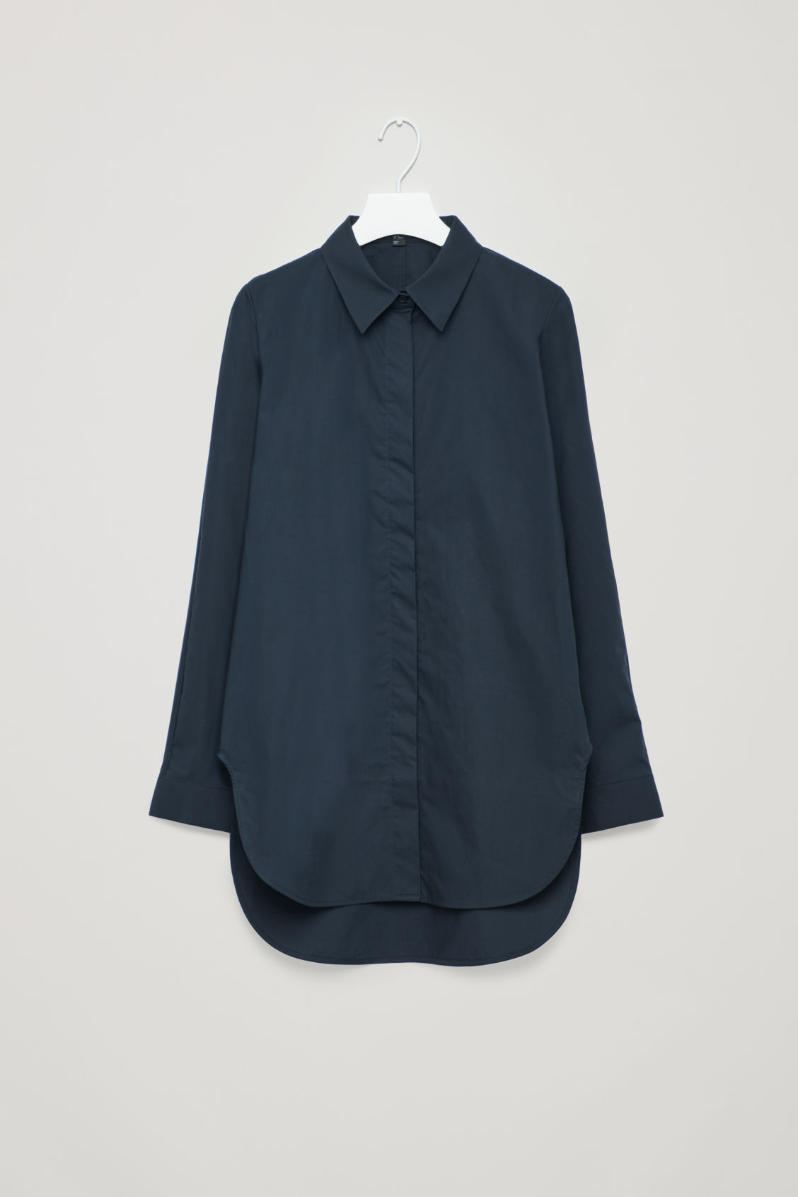 Front image of Cos cocoon cotton-poplin shirt  in blue
