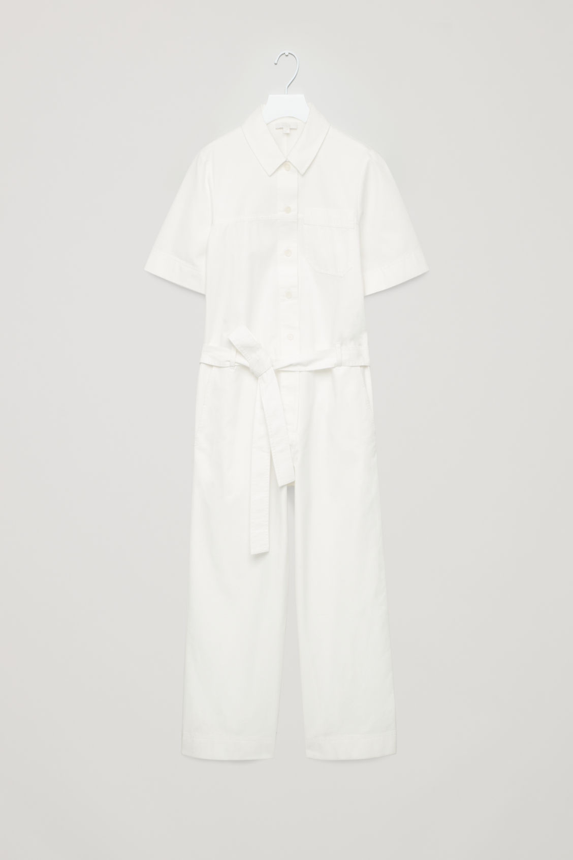 Front image of Cos belted cotton jumpsuit in neutral