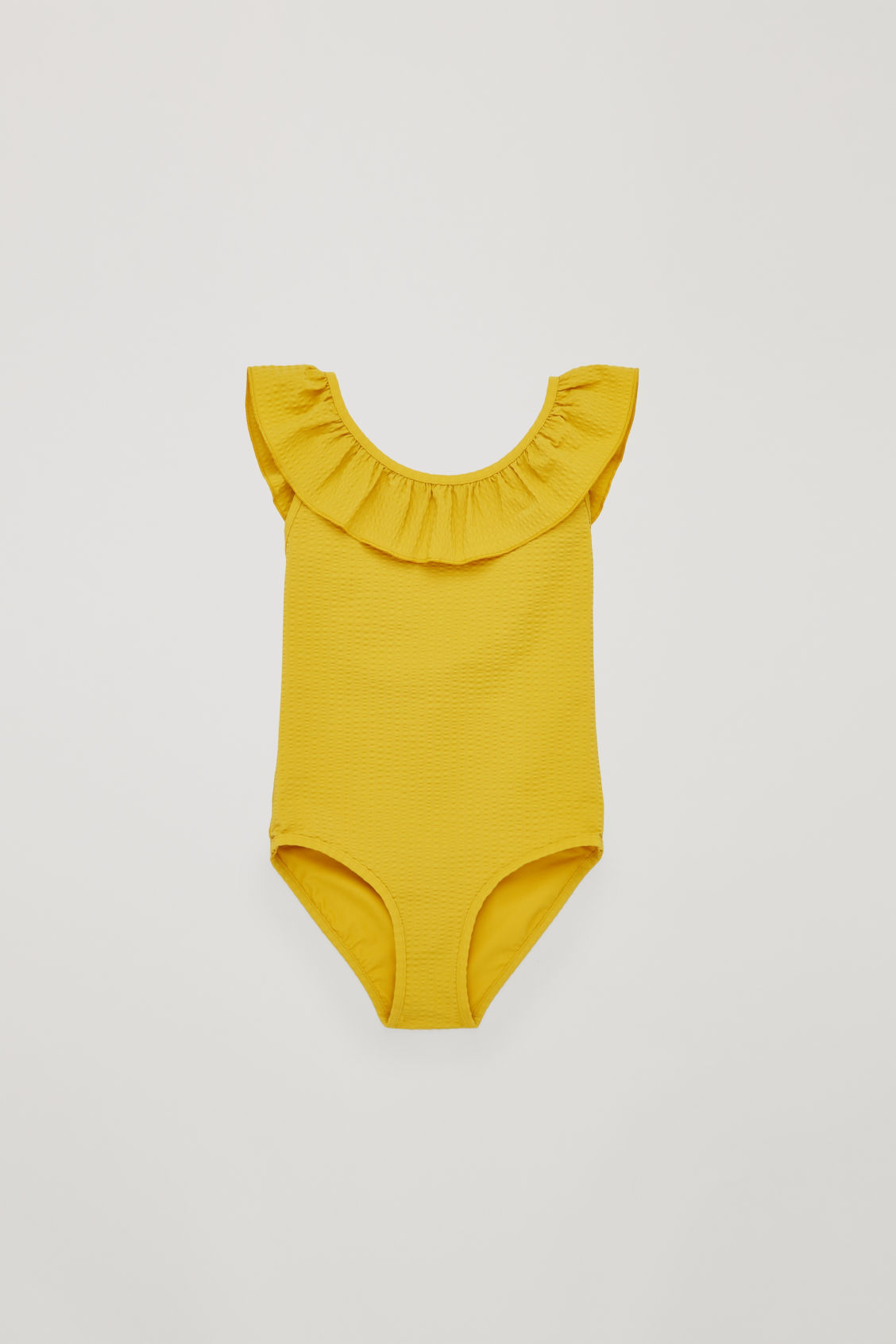 Front image of Cos ruffled seersucker swimsuit in yellow