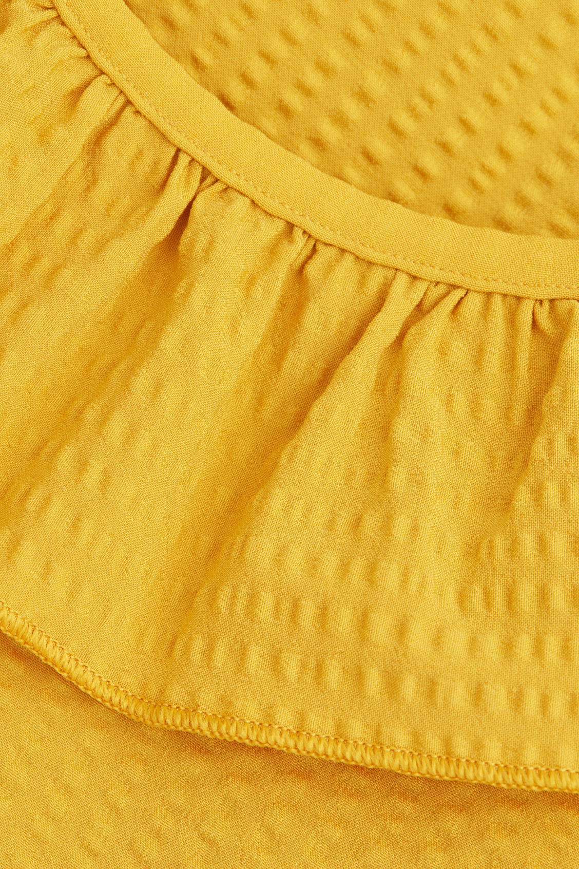 Side image of Cos ruffled seersucker swimsuit in yellow