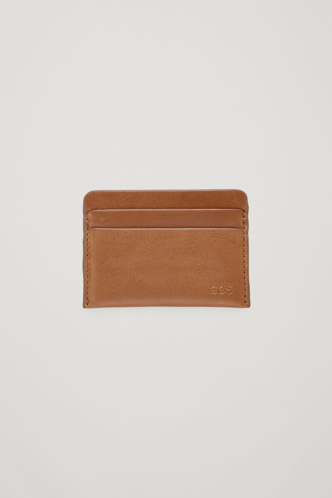 Front image of Cos round-edged leather cardholder  in beige