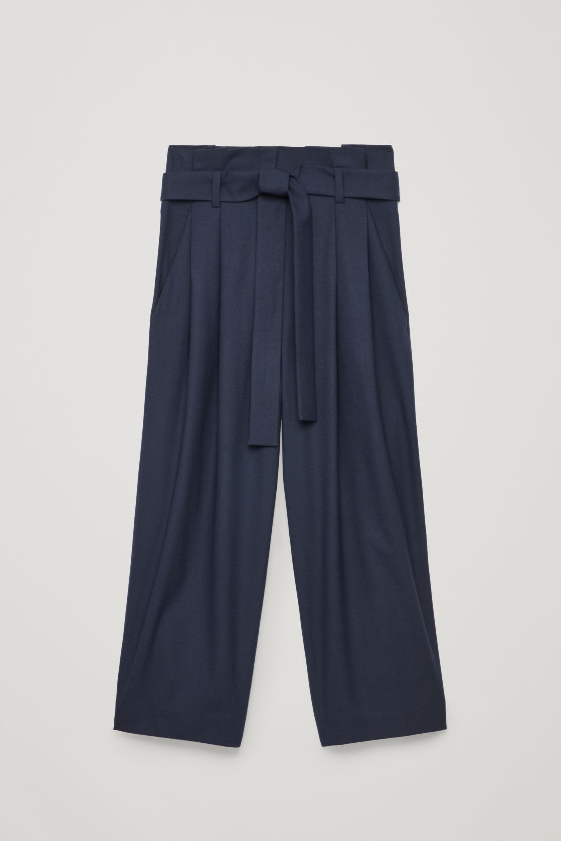 Front image of Cos wool trousers with pleated waist  in blue