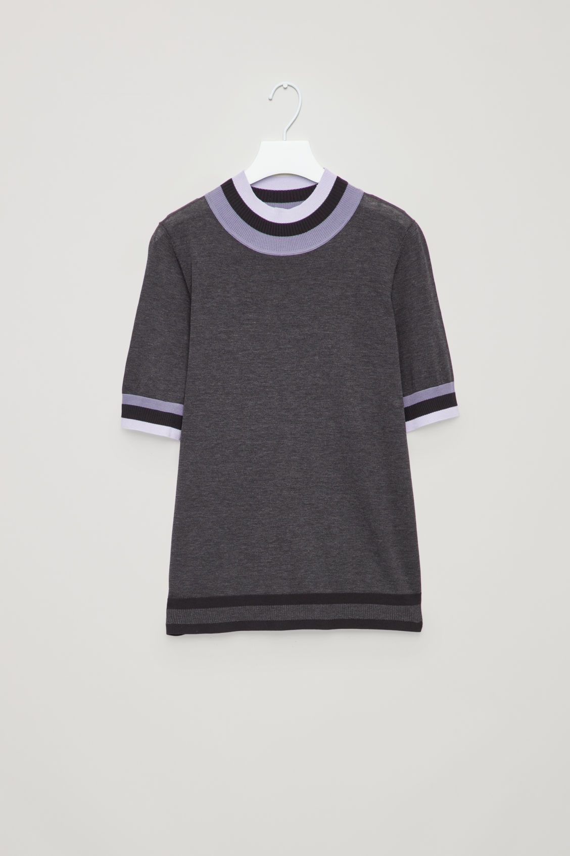 Front image of Cos rib-detailed knitted top in grey