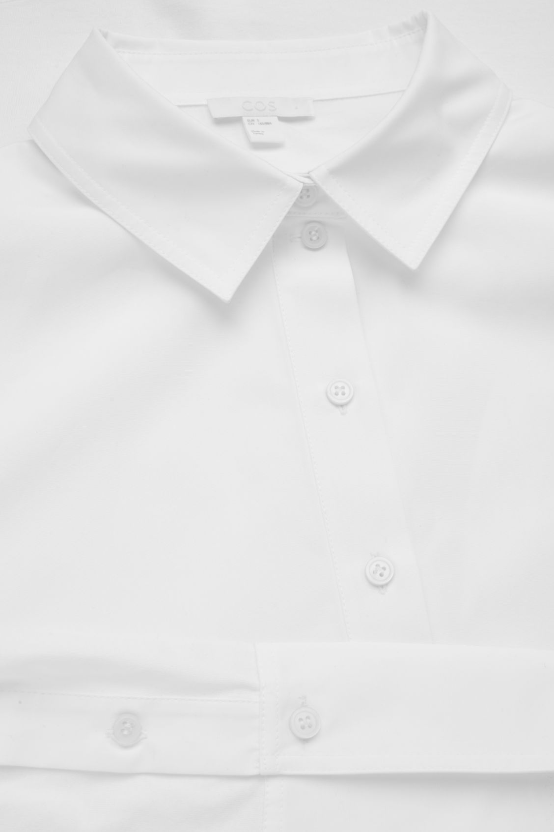 Side image of Cos jersey-woven shirt with pleat in white
