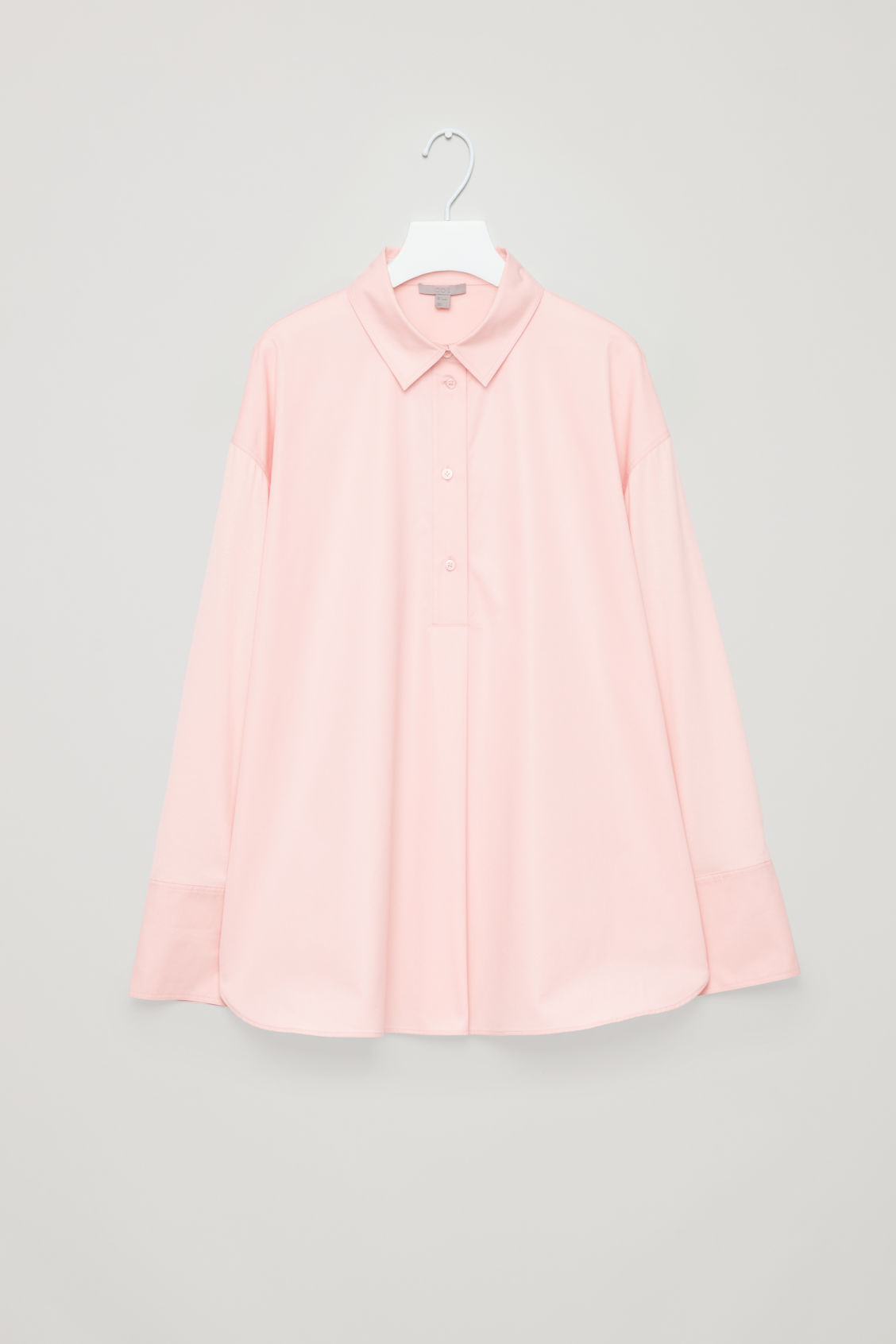 Front image of Cos jersey-woven shirt with pleat in pink