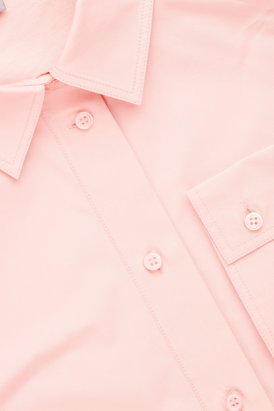 Side image of Cos jersey-woven shirt with pleat in pink