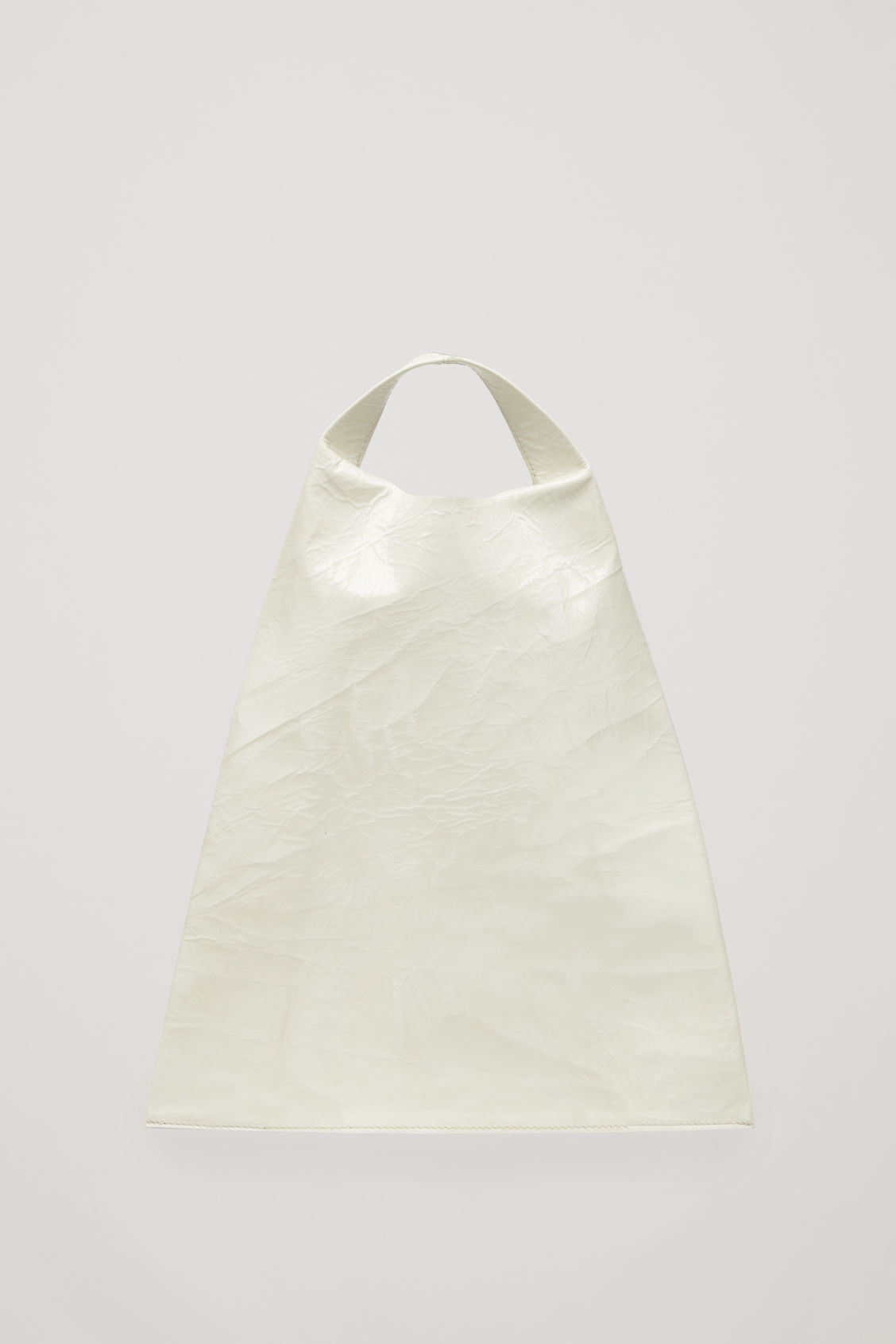 Front image of Cos patent leather tote bag  in white