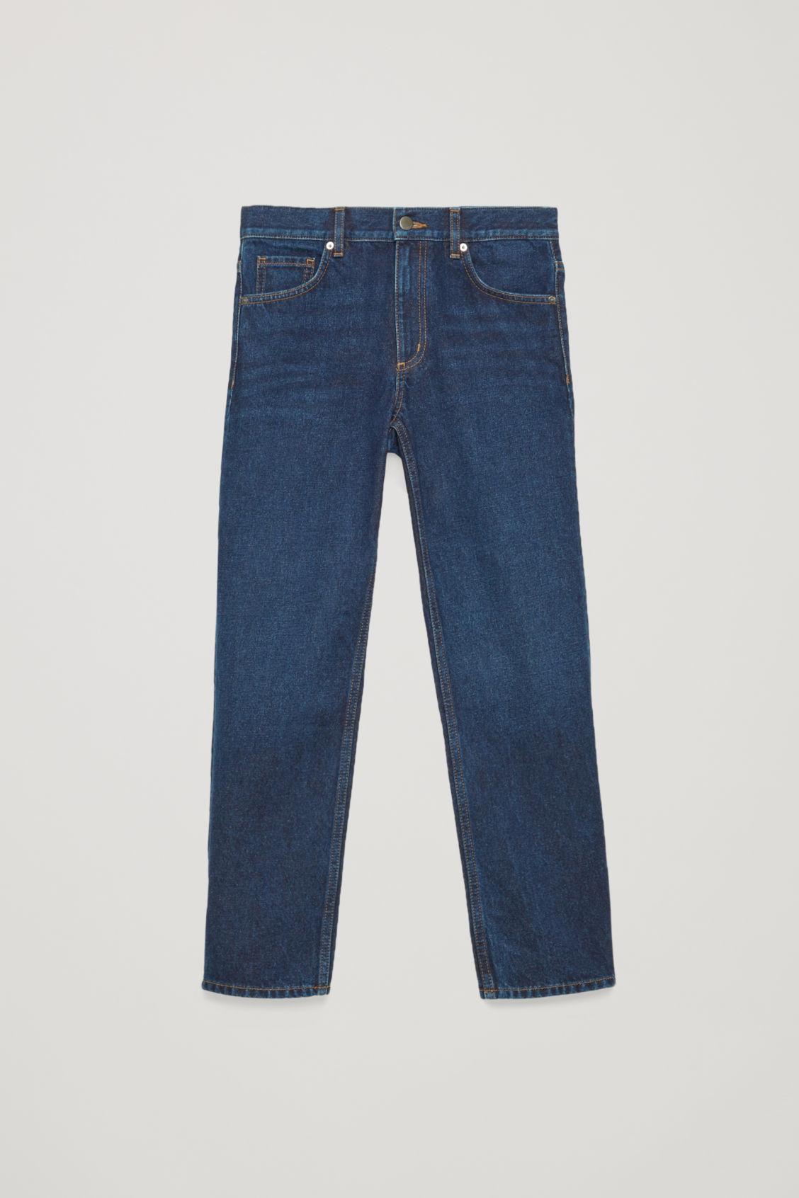 Front image of Cos cropped slim-fit jeans in blue