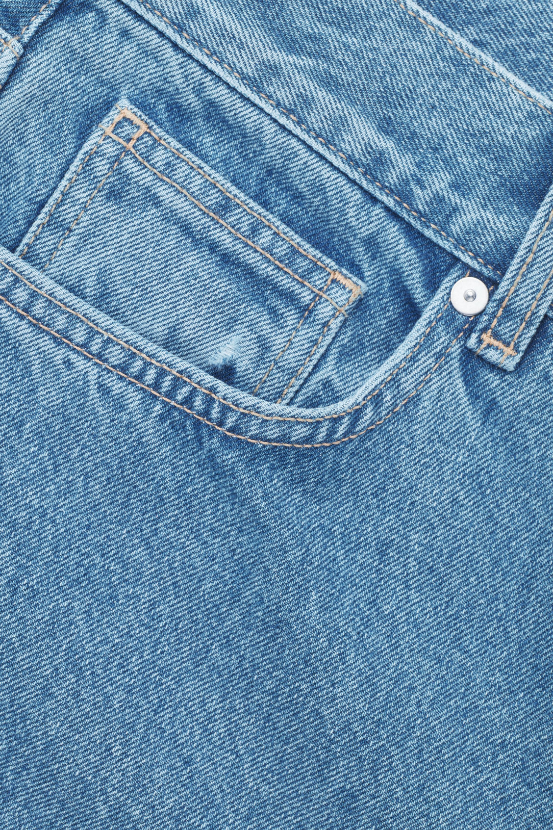 Side image of Cos cropped slim-fit jeans in blue