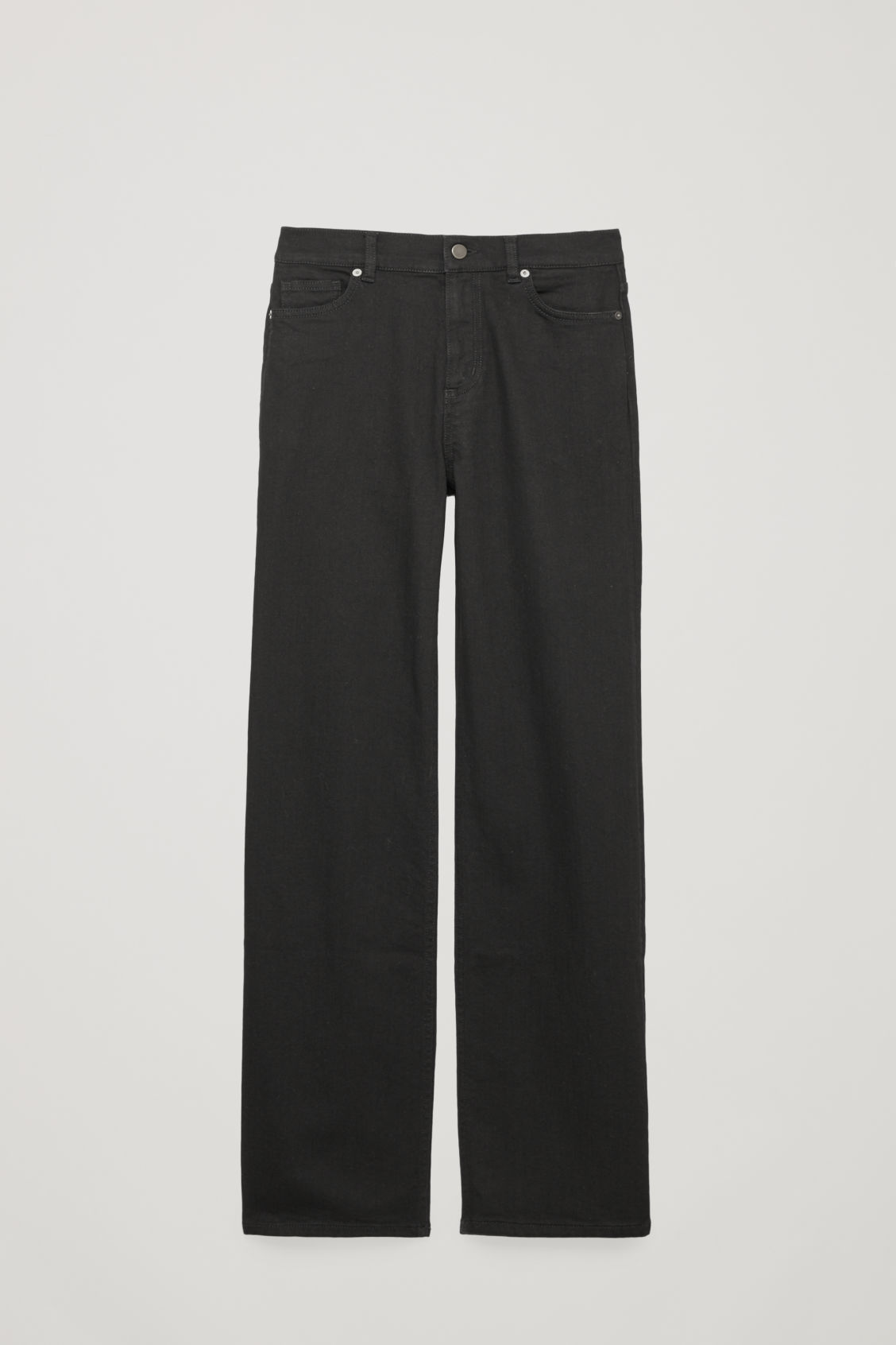 Front image of Cos 32 inch wide leg jeans in black