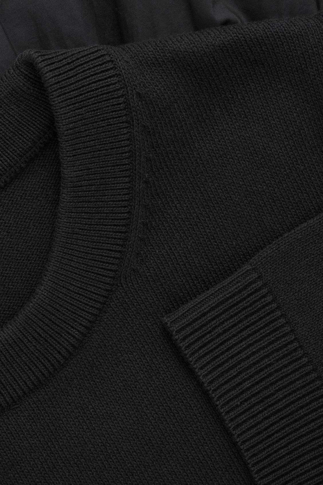 Side image of Cos panelled cotton knit dress  in black