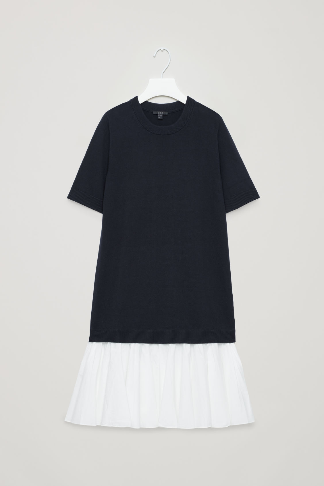 Front image of Cos panelled cotton knit dress  in blue