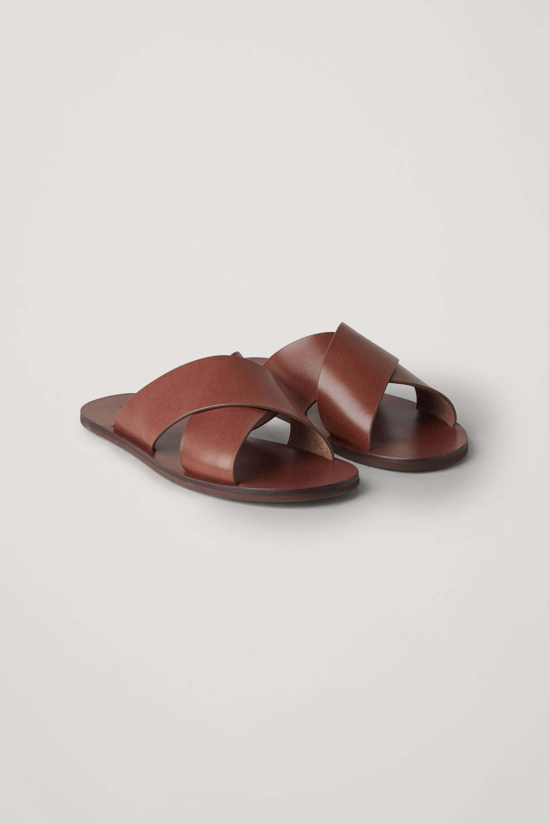 Front image of Cos leather slip-on sandals  in brown