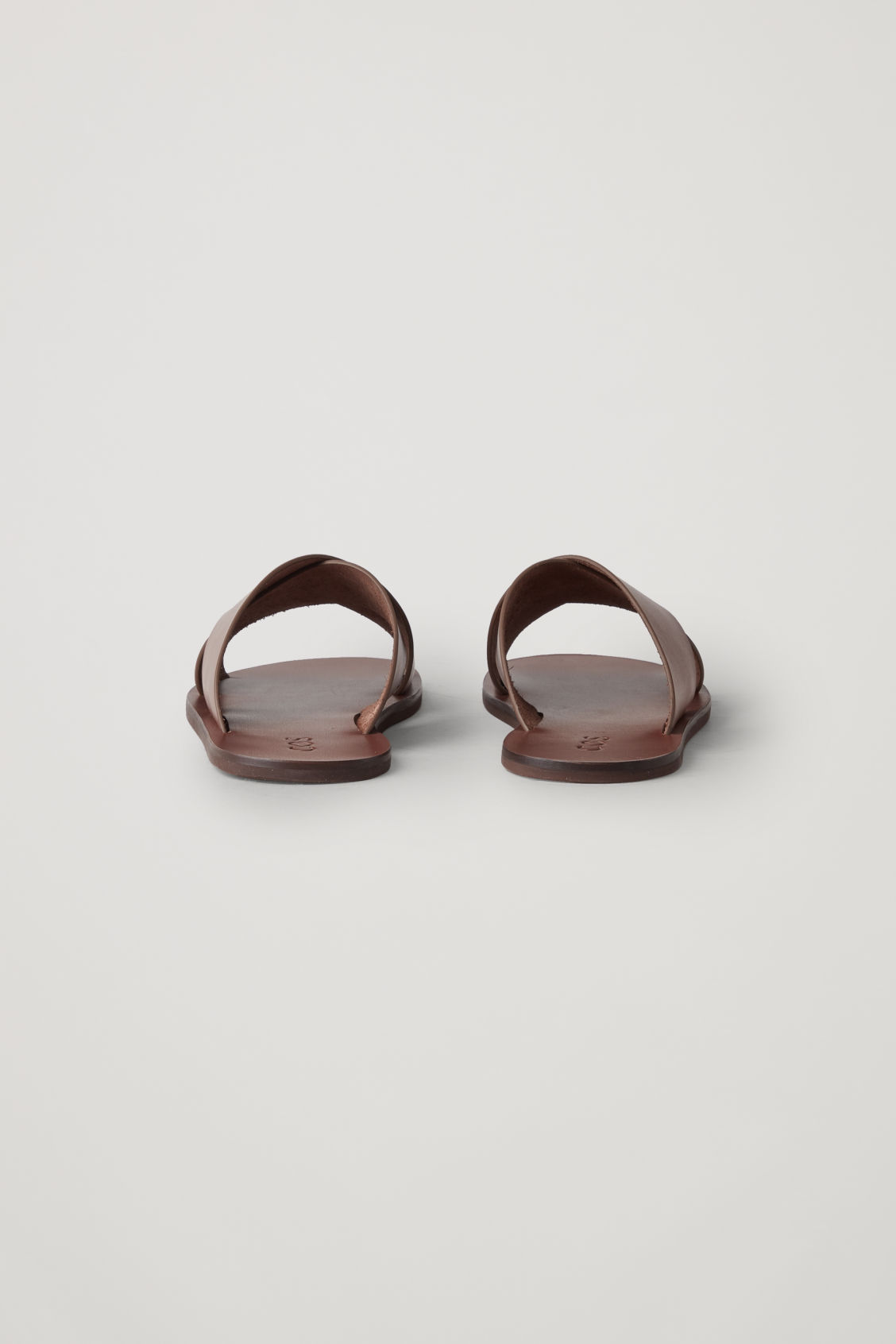 Side image of Cos crossover leather sandals in beige