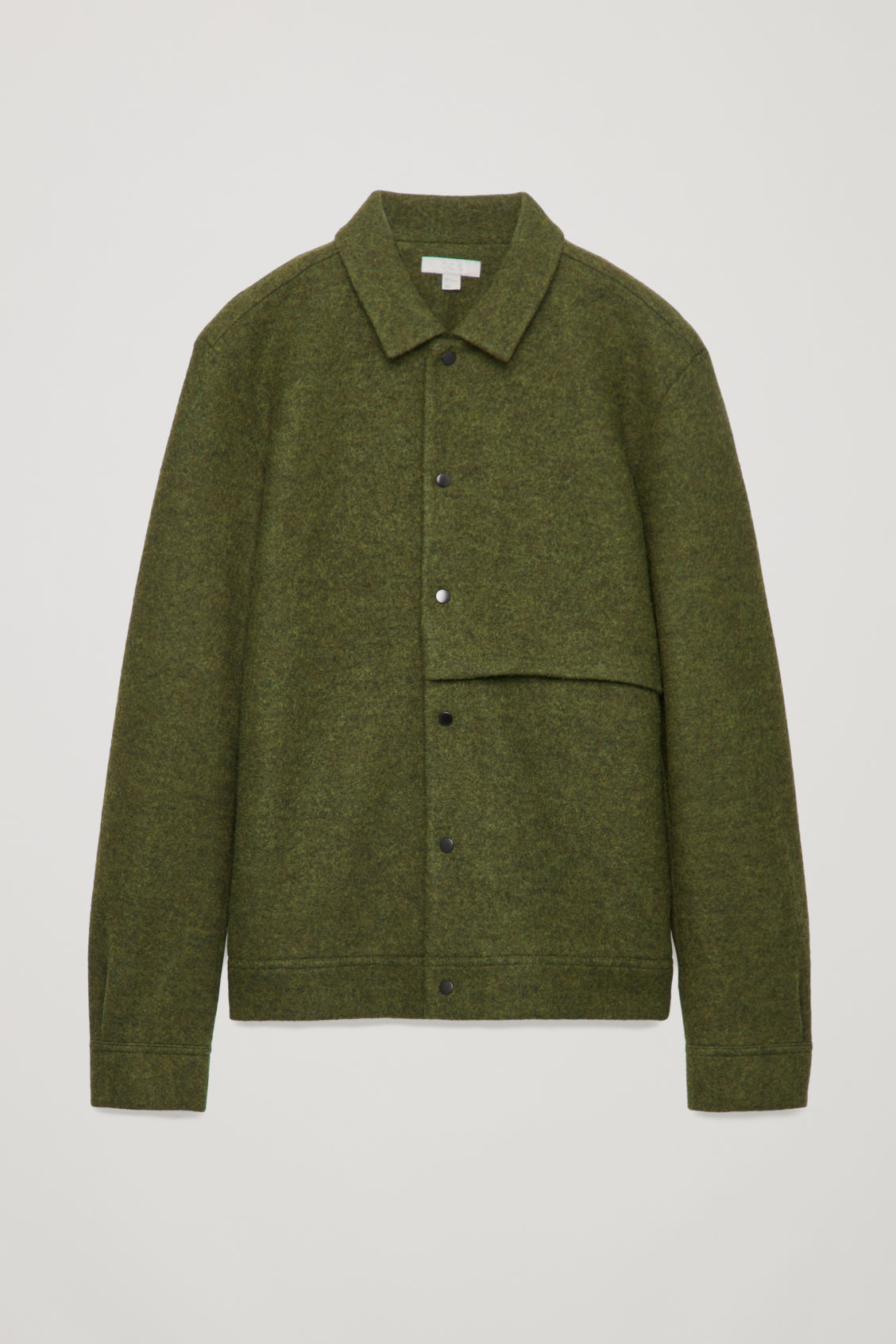 Front image of Cos boiled wool jacket in green