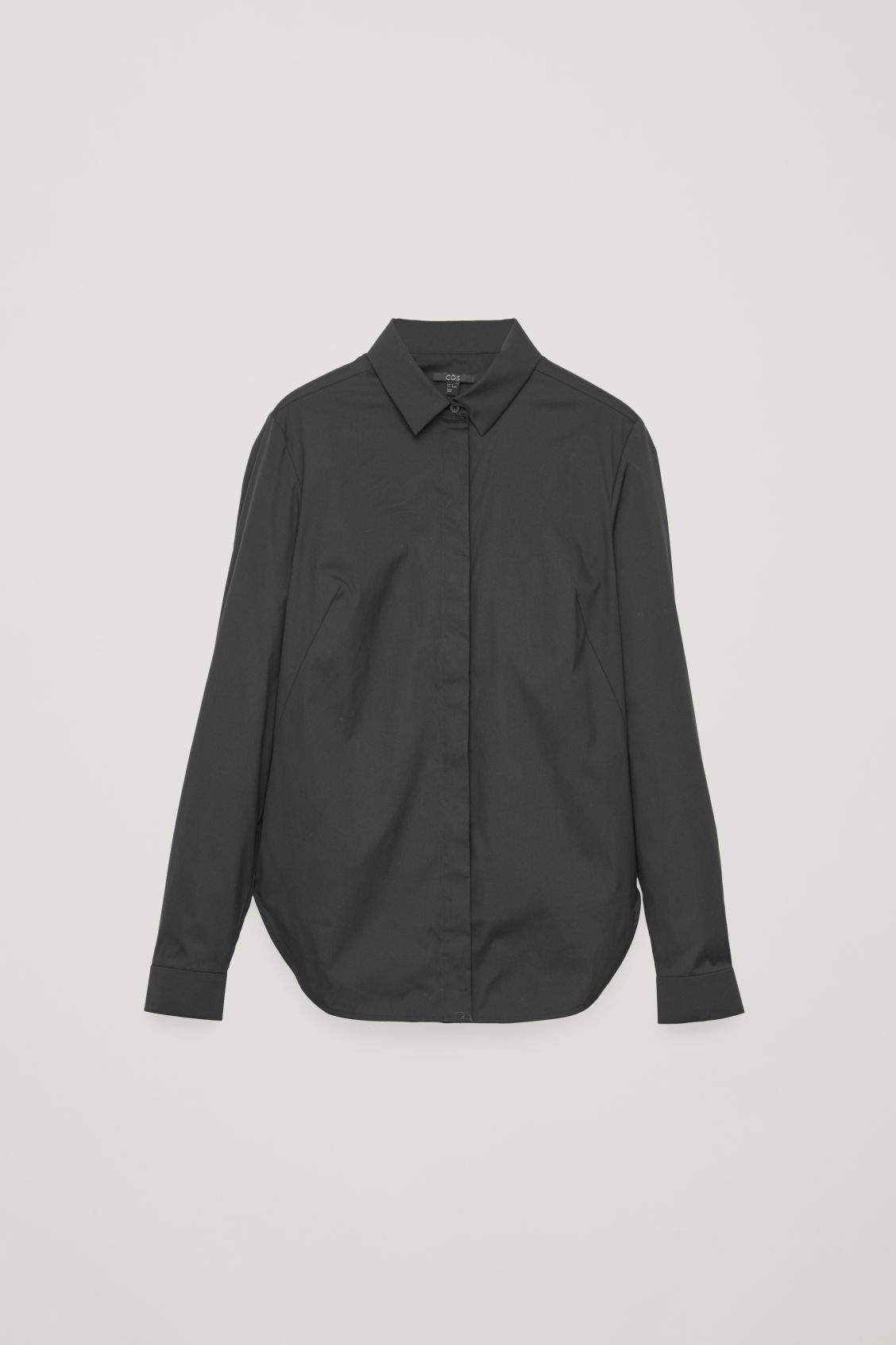 Front image of Cos slim-fit shirt  in black