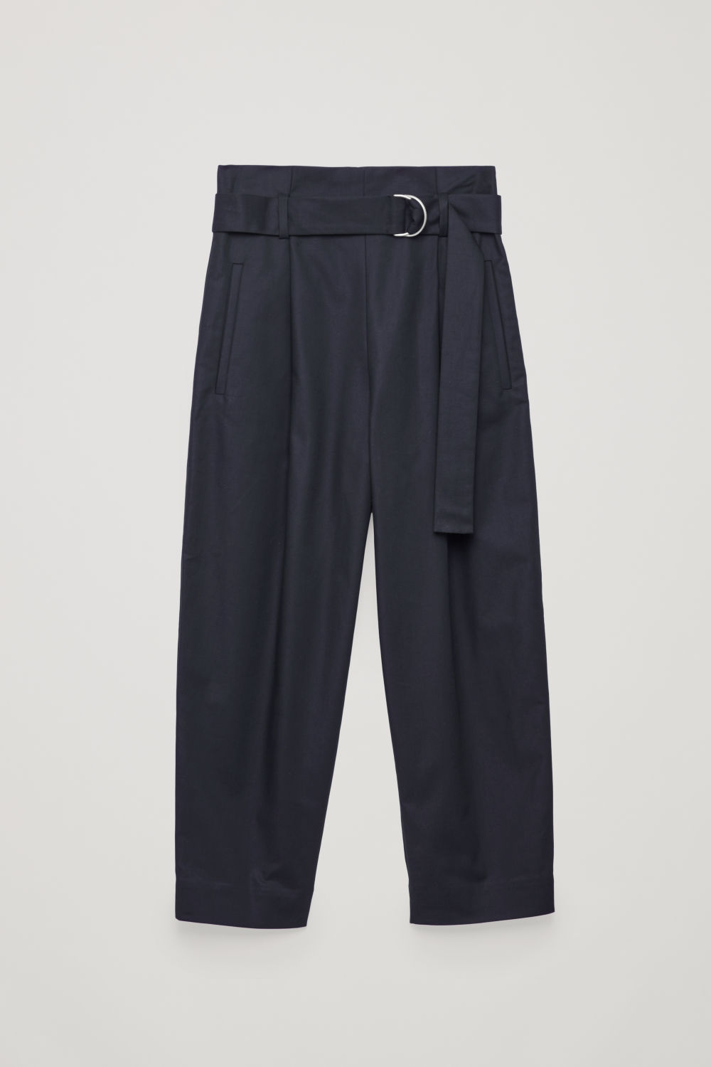 Front image of Cos belted cotton trousers in blue