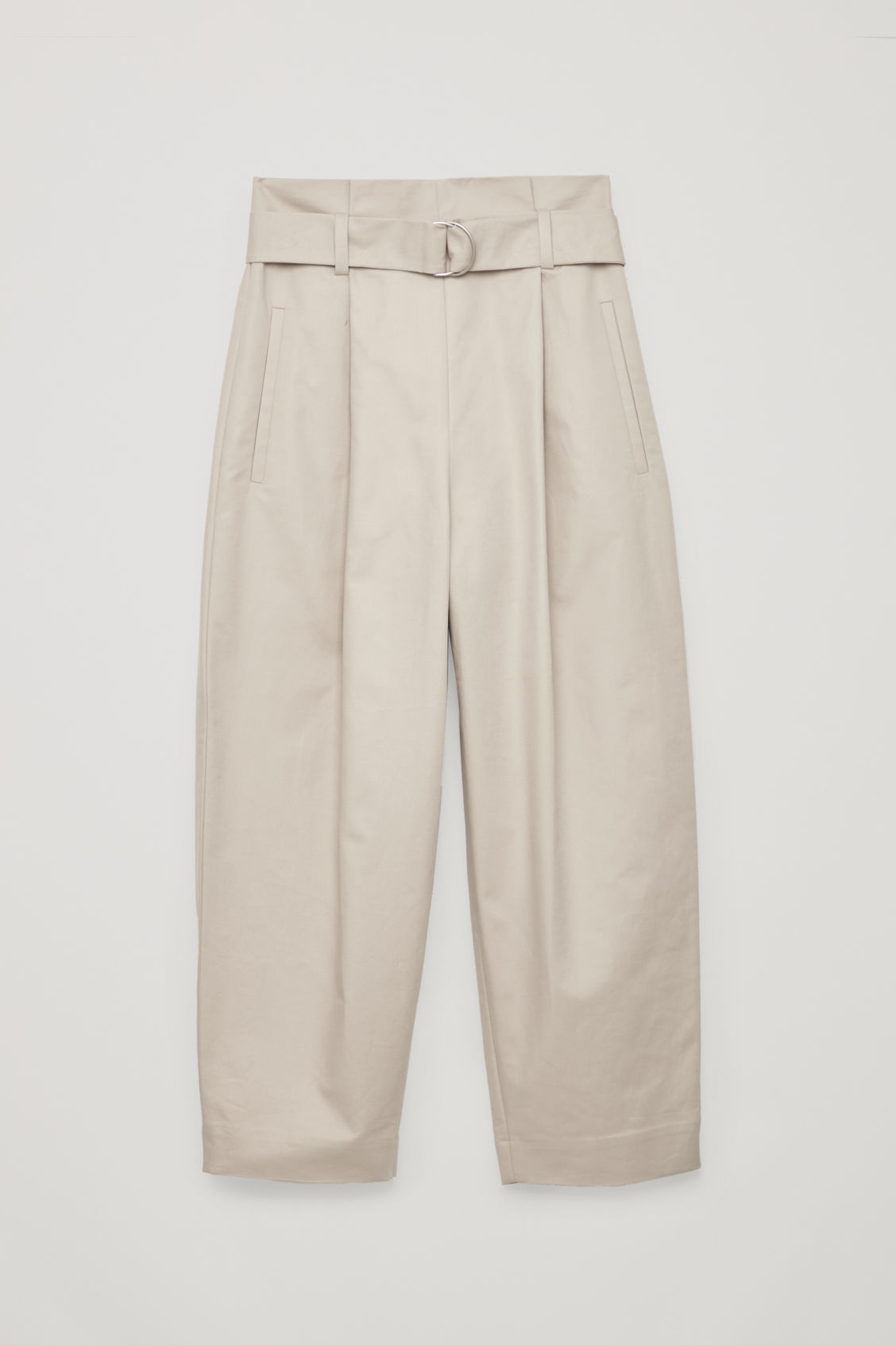 Front image of Cos belted cotton trousers in brown