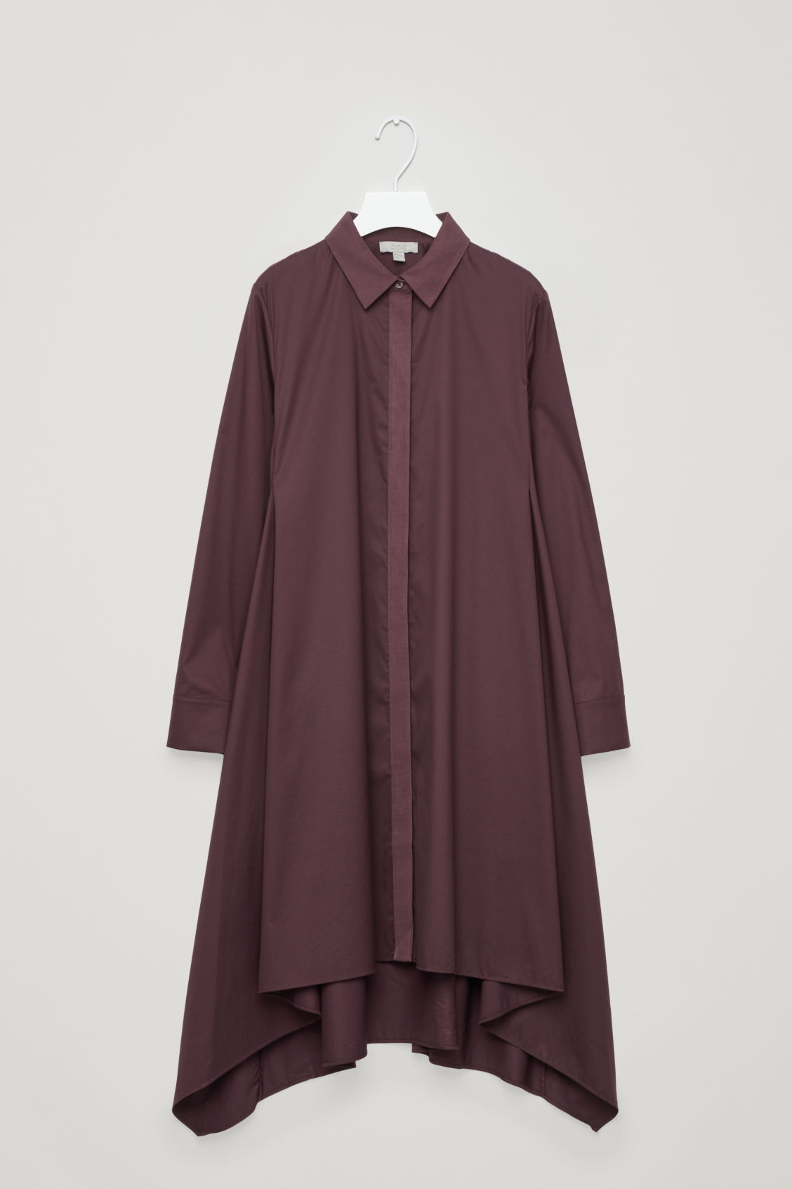 Front image of Cos handkerchief-hem shirt dress in purple