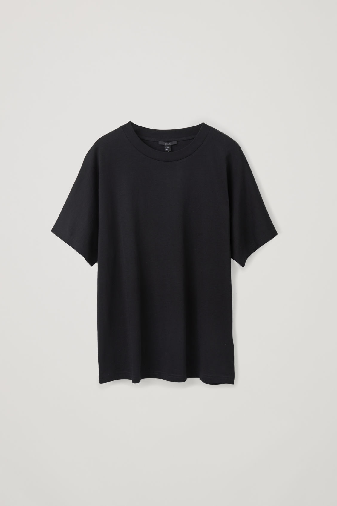 Front image of Cos relaxed kimono-sleeved t-shirt in black