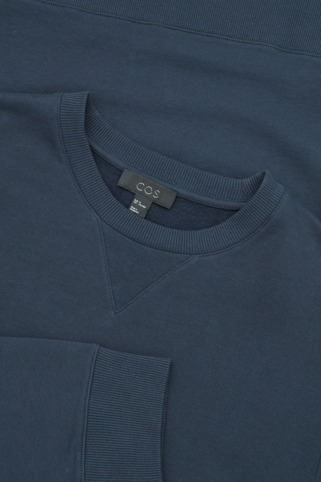 Side image of Cos cotton crew-neck sweatshirt in blue