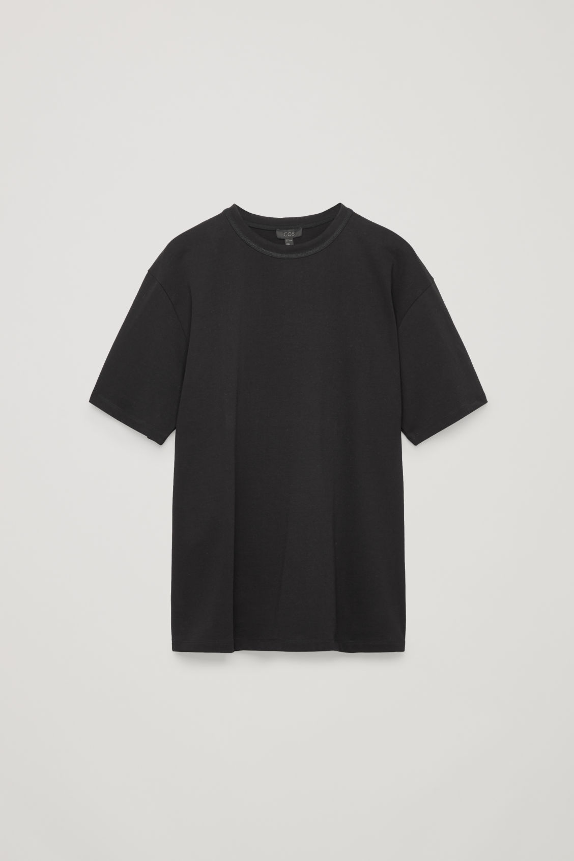 Front image of Cos long cotton t-shirt  in black