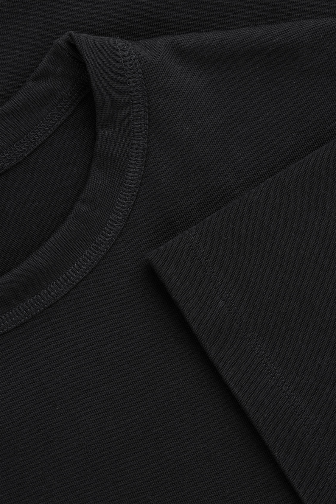 Side image of Cos long cotton t-shirt  in black