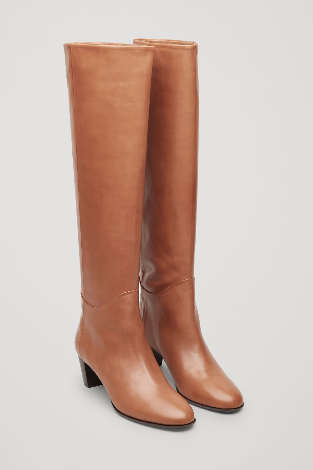 Front image of Cos knee-high leather boots in beige